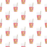 Pink sweet water with lime and lemon. Seamless pattern. Stock Image