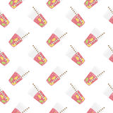 Pink sweet water with lime and lemon. Seamless pattern. Royalty Free Stock Photography