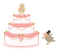 Pink sweet wedding cake Stock Image