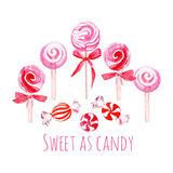 Pink sweets watercolor vector elements Royalty Free Stock Photography