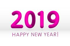 Pink 2019 symbol, happy new year isolated on white background, vector illustration. Art royalty free illustration