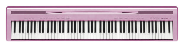 Pink synthesizer isolated on white Stock Photo