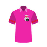 Pink T-shirt Player with the image of bowling skittles and ball. Stock Image
