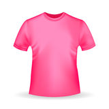 Pink T-shirt template in realistic style on white background stock illustration