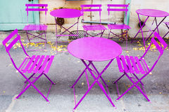 Pink table and chairs in Paris Stock Photo