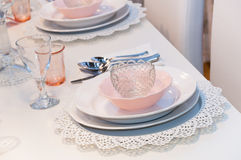 Pink table setting royalty free stock photos