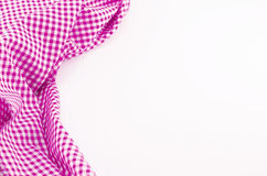 Pink Tablecloth textile on white background. With place for your text Royalty Free Stock Image