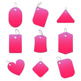 Pink tags. 100% vectors - white tags, labels Stock Photo