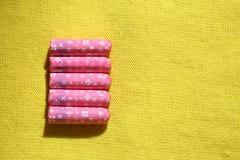 Pink tampons Stock Photos