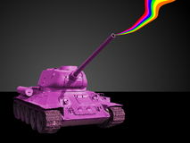 Pink tank. Isolated pink tank with rainbow smoke from barrel Stock Image