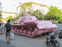 Pink tank in Brno Royalty Free Stock Photo