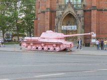 Pink tank in Brno Stock Images