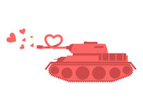 Pink tank of love. Shot heart. Peace military equipment. Army bo. Mb for lovers. curved barrel Stock Photo