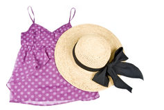Pink Tank Top and Straw Hat Isolated on White Royalty Free Stock Photos