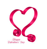 Pink Tape Ribbon in Form Heart for Happy Valentines Day Royalty Free Stock Photography