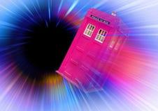 Pink tardis in space vortex Royalty Free Stock Photos