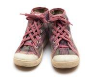 Pink tartan gumshoes Stock Image