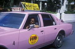 A pink taxi cab in Key West, Florida Royalty Free Stock Photography