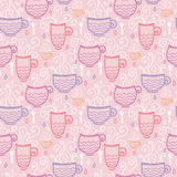 Pink tea cups seamless pattern background Stock Image