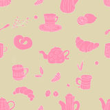 Pink tea pattern Royalty Free Stock Images