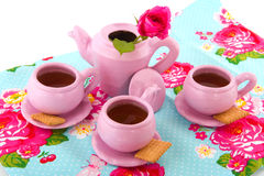 Pink tea service Stock Photos