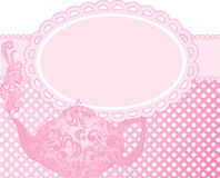 Pink teapot. Green teapot with a beautiful ornament and clouds of steam Stock Photo