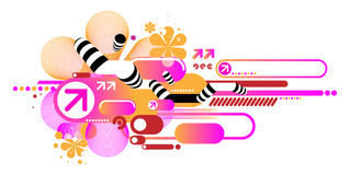 Pink techno composition. Of various elements Stock Photography