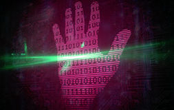 Pink technology hand print binary design Royalty Free Stock Photography