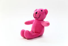 Pink teddy bear. On a white background Stock Photos