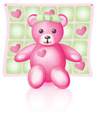 Pink Teddy Bear. Illustration of a pink teddy bear with button eyes and green bow, baby blanket behind Royalty Free Stock Photos