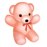 Pink Teddy bear with a bow, illustration Royalty Free Stock Photos