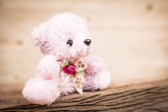 Pink Teddy Bear toy alone on wood in front brown background. Royalty Free Stock Photo