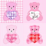 Pink teddy bears cards Stock Photo