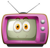 Pink television with face Stock Photography