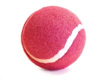 Pink tennis ball. With a white stripe over a white background Stock Image