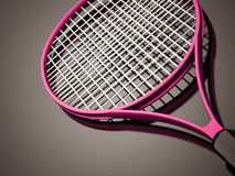 Pink tennis racket rendered on dark Royalty Free Stock Image