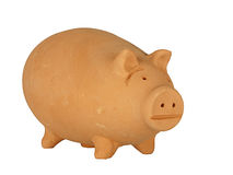 Pink terracotta hand made pig, isolated Royalty Free Stock Image