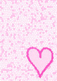 Pink tessellated background and heart. Tessellated background created of pink pieces with pink heart Stock Images