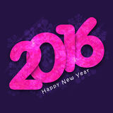 Pink text for Happy New Year 2016. Creative pink text 2016 on snowflakes decorated background for Happy New Year celebration Royalty Free Stock Photo