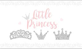 Pink text Little Princess on white background with lace. Cute silver glitter texture. Grey gloss effect. Birthday party and girl b. Aby shower decor Royalty Free Stock Image