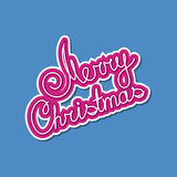 Pink Text Merry Christmas on Blue Background. Poster Brochure Design, Merry Christmas and Happy New Year, Vector Illustration Royalty Free Stock Images