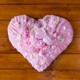 Pink Textile chiffon Heart with roses and other flowers Stock Image