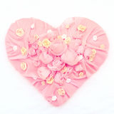 Pink Textile chiffon Heart on a snow background Royalty Free Stock Image