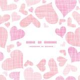 Pink textile hearts center frame seamless pattern Stock Photos
