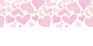 Pink textile hearts horizontal border seamless Royalty Free Stock Photos