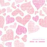 Pink textile hearts horizontal frame corner Royalty Free Stock Photography