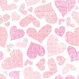 Pink textile hearts seamless pattern background Royalty Free Stock Image