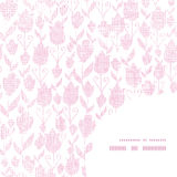 Pink textile tulips texture frame corner pattern Stock Photos