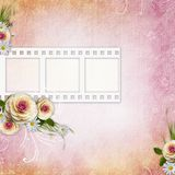 Pink Texture Background with frame, roses Royalty Free Stock Photography