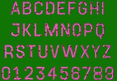 Pink textured alphabet. With green screen so easy to cut out Royalty Free Stock Images
